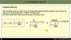 zinseszinsrechnung f 252 r anf 228 nger