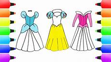 How To Draw Disney Princess Dresses Snow White Cinderella