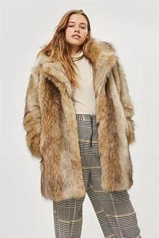fur coats topshop synthetic ultimate vintage faux fur coat in brown