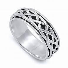 men 8mm 925 sterling silver ring celtic design spinner wedding band ebay
