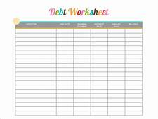 Debt Worksheet Printable  Free