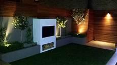 modern garden design ideas great lighting fireplace hardwood screen plastered rendered walls