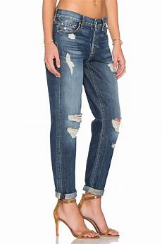 7 for all mankind cotton josefina distressed in blue lyst