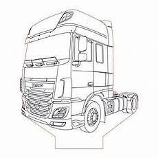 Ausmalbilder Lkw Daf Daf Xf 106 Truck 3d Illusion L Plan Vector File
