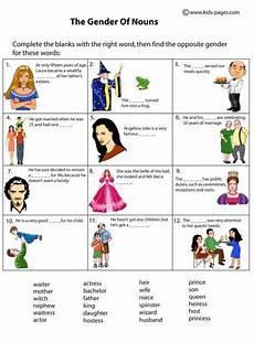 kids pages nouns gender nouns worksheet gender kids pages