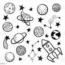 big set of doodle space elements space rocket