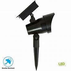 hton bay solar black outdoor integrated led 3000k 30 lumens landscape spot light nxt sl 12