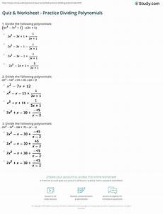 division of polynomials worksheets with answers 7014 quiz worksheet practice dividing polynomials study