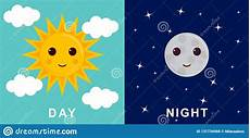day and illustrations with funny smiling cartoon characters of sun and moon stock vector