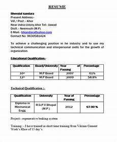 resume format for freshers diploma diploma fresher