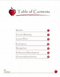 teaching portfolio table of contents teacher portfolio