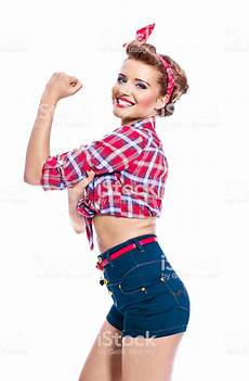image de pin up pinup style flexing arm stock photo