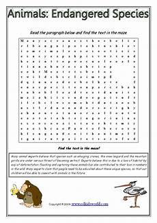 endangered animal worksheets 14298 animals endangered species text maze