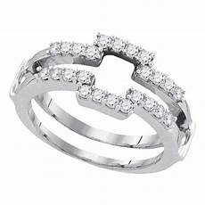 14kt white gold womens diamond square wrap ring