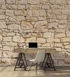 papier peint trompe l oeil mur de pierres beiges