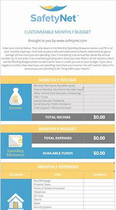 budgeting excel template spreadsheet free download by safetynet insurance