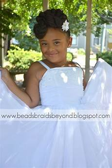 beads braids and beyond natural flower girl updo with