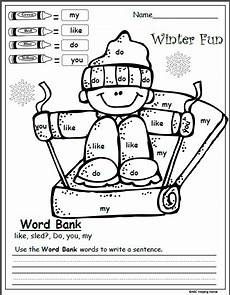 free winter color by sight word kindergarten writing worksheet kindergarten writing