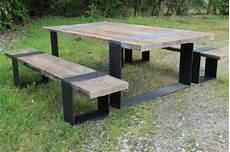 table et banc en bois pour exterieur table avec bancs en vieux ch 234 ne et pieds fer bca