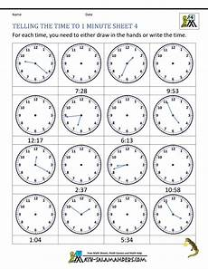 printable telling time worksheets 2nd grade 3624 clock worksheets to 1 minute