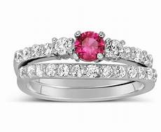 1 carat pink sapphire and diamond wedding ring in