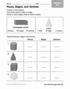 faces edges and vertices reteach worksheet for 4th 5th grade lesson planet