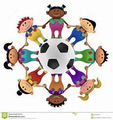 clipart calcio multiethnic around a football royalty free stock