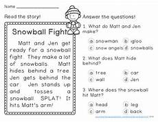 winter reading comprehension passages first grade by sarah