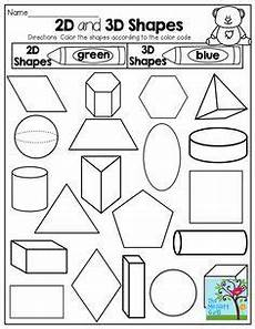 2 d and 3 d shapes color by the code tons of fun printables homeschool math first grade