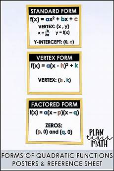 free worksheets for grade 18644 quadratic functions forms posters reference sheet teaching math high school algebra math