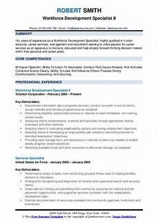 workforce development specialist resume sles qwikresume