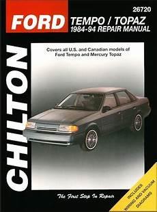 free service manuals online 1985 mercury topaz transmission control ford tempo mercury topaz repair manual 1984 1994 chilton 26720