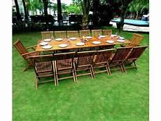 Salon De Jardin En Teck Grande Taille Table 300 Cm