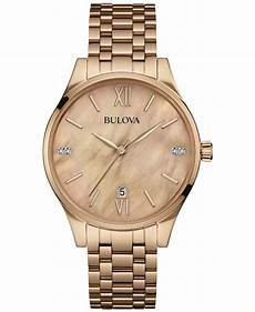 bulova s diamond accent rose gold tone stainless