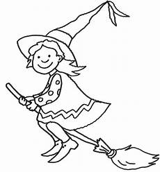 ausmalbild hexe auf ihrem besen kostenlos