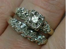 vintage wedding ring ornate 1940s white gold illusion
