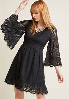 bell sleeve lace dress in black modcloth