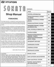 service manuals schematics 1992 hyundai sonata auto manual 2001 hyundai sonata repair shop manual original
