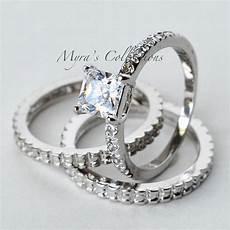 2 02ct art deco 3 piece bridal wedding engagement ring band s size 5 ebay
