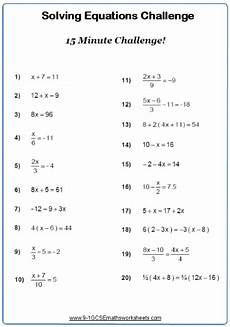 solving linear equations worksheet practice questions cazoomy