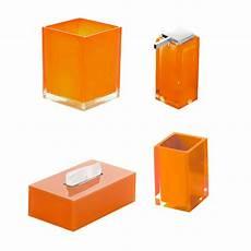 accessori bagno gedy set 5 accessori bagno gedy rainbow in resina arancio