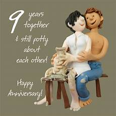 9th Year Wedding Anniversary Gifts happy 9th pottery anniversary greeting card one lump or