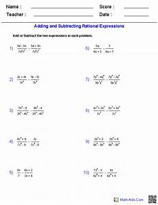 adding and subtracting rational expressions worksheets simplifying rational expressions