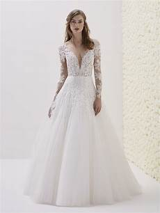 deep v neck long sleeve lace a line wedding dress kleinfeld bridal