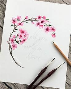 fleur de cerisier dessin aquarelle fleur de cerisier watercolorarts dessin