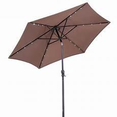 sunray 9 ft solar lighted market umbrella in cocoa 841034 the home depot