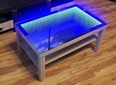 eiche oak table tisch couchtisch spiegel glastisch led 3d