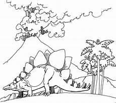 Malvorlage Dinosaurier Ausmalen Dinosaurier Mit Vulkan Ausmalbild Malvorlage Dinosaurier