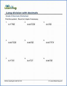 5th grade math worksheet division grade 5 math worksheet decimal division k5 learning