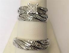 his mens diamonds wedding ring bands trio bridal 10k white gold ebay